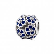 Серебряный шарм Летний шик с цветочками, синей эмалью и фианитами