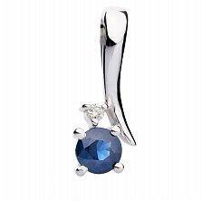 Золотой кулон Анастасия с сапфиром и бриллиантом