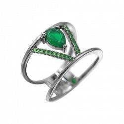 Серебряное кольцо Виктори с халцедоном и зелеными фианитами