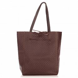 Кожаная сумка на каждый день Genuine Leather 8040 темно-коричневого цвета на завязках