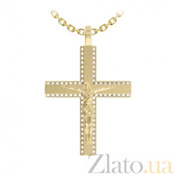 Крест из желтого золота с брилилантами Истовый покой на цепочке 000029847