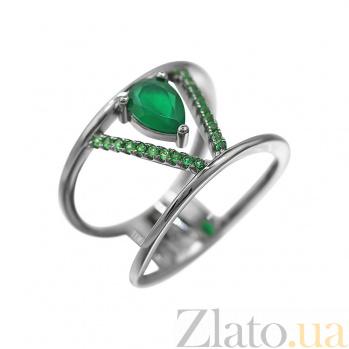 Серебряное кольцо Виктори с халцедоном и зелеными фианитами 000081645