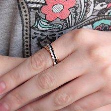 Кольцо из красного золота Эсмеральда с черными и белыми фианитами