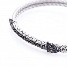 Серебряный браслет Плетение с чернением и черными фианитами