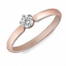 Кольцо из красного золота Нежность с бриллиантом