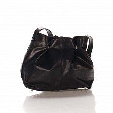 Кожаный клатч-мешок Genuine Leather 1678 цвета бархатный черный с плечевым ремнем