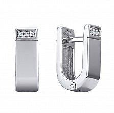Серебряные серьги Вероника с бриллиантами