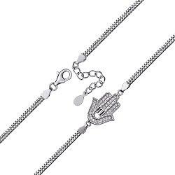 Серебряный браслет в венецианском плетении с цирконием 000127936