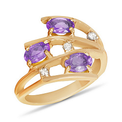Золотое кольцо Третье измерение с аметистами и фианитами