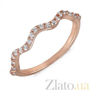 Золотое кольцо в красном цвете с фианитами Калабрия 000022937