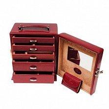 Красная шкатулка для украшений WindRose Merino с пятью ящиками и ручкой сверху