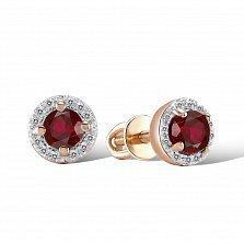 Серьги-пуссеты из красного золота Дафна с рубинами и бриллиантами