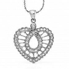 Кулон из белого золота Мелодия сердца с бриллиантами