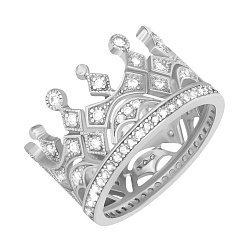 Серебряное кольцо-корона с фианитами и родированием 000033838