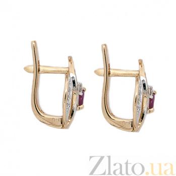 Золотые серьги с бриллиантами и рубинами Цветана ZMX--ER-6717_K