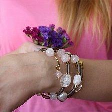 Спиральный браслет Адамант с розовым кварцем и горным хрусталём