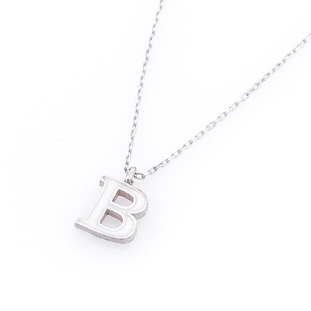 Серебряное колье Буква В с белой эмалью