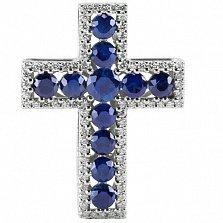 Крест из белого золота Сияние с сапфирами и бриллиантами