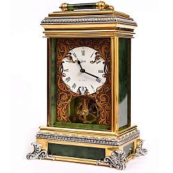 Серебряные интерьерные часы с нефритом, бриллиантами и позолотой 000004522