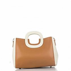 Кожаная деловая сумка Genuine Leather 8652 орехового цвета с белыми вставками, с тремя отделениями