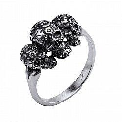 Серебряное черненое кольцо с тремя черепами 000098256