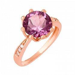 Золотое кольцо с александритом и фианитами Колумбине 000029473