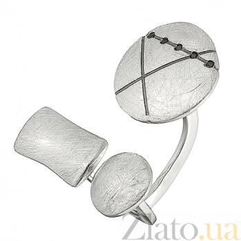 Серебряное кольцо с черным цирконием Интрига К1-3л кр цч