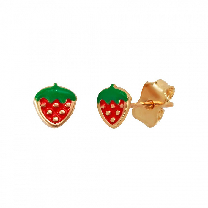 Серьги-пуссеты из красного золота Земляника с красной и зеленой эмалью 000081435