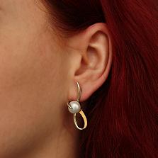 Серебряные серьги Ребит с жемчугом и золотыми вставками