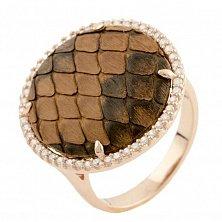 Серебряное кольцо Королевская змея с коньячной кожей питона и фианитами