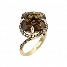 Кольцо из желтого золота Беатриса с коньячными бриллиантами и раухтопазом