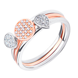 Серебряное наборное кольцо Триола в комбинированном цвете с белыми фианитами