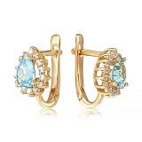 Золотые серьги Фаина с голубыми топазами и фианитами