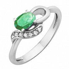 Серебряное кольцо с изумрудом Азон