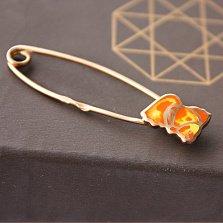 Серебряная булавка с позолотой Золотая рыбка