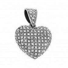Кулон из белого золота Сияние сердца с бриллиантами