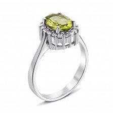 Серебряное кольцо с хризолитом и фианитами 000134872