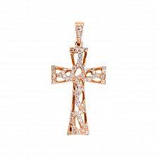 Крестик Вечная молодость в красном золоте с фианитами