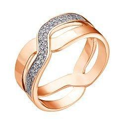Позолоченное кольцо из серебра с фианитами 000042838