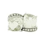 Серебряное кольцо с зеленым кварцем и фианитами Шакира