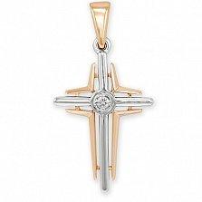 Крестик из золота с бриллиантом Символ Жизни