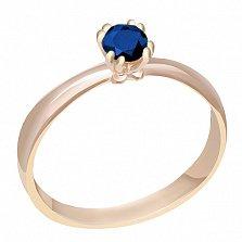 Кольцо в красном золоте Инесса с сапфиром