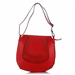 Сумка на каждый день из кожи и замши Genuine Leather 8607 красного цвета на молнии
