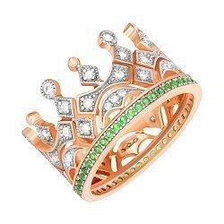 Серебряное кольцо-корона с зелеными и белыми фианитами с позолотой 000042845