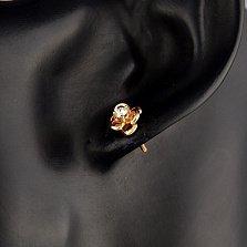 Серьги-пуссеты в красном золоте Цветок страсти с бриллиантами