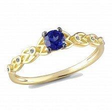 Кольцо из желтого золота с сапфиром и бриллиантами Корина