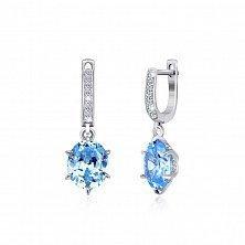 Серебряные серьги-подвески с голубыми фианитами Луизина