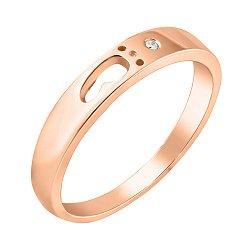 Кольцо в красном золоте Пополнение с фианитом и контуром ножки на шинке
