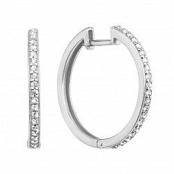 Серьги-кольца из белого золота с фианитами, d 23мм 000101644