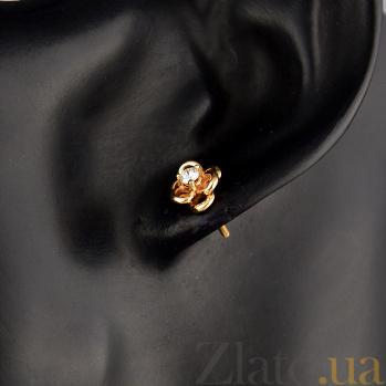 Серьги-пуссеты в красном золоте Цветок страсти с бриллиантами 000079166